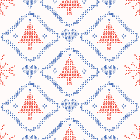 Christmas Tree Embroidery Stitches Seamless Vector. Hand Drawn Cross Stitch Snowflake Illustration for Winter Fashion Prints, Festive Gift Wrap, Trendy Craft Packaging or Retro Ugly Sweater Pattern