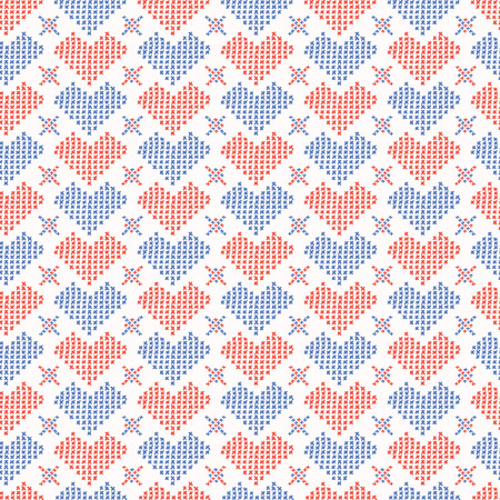 Hand Drawn Embroidery Love Heart Stitches Seamless Vector Pattern. Cross Stitch Illustration for Summer Fashion Prints, Wedding Gift Wrap, Trendy Craft Packaging or Red Blue Home Sweet Home Design