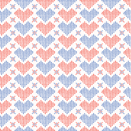 Hand Drawn Embroidery Love Heart Stitches Seamless Pattern Stock Photo