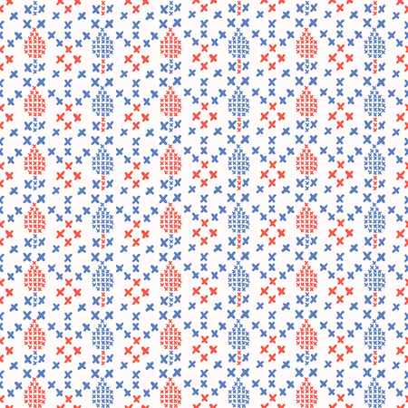 Folkloric Embroidery Stripes Stitches Seamless Vector Pattern. Hand Drawn Cross Stitch Illustration for Summer Fashion Prints, Cute Gift Wrap, Trendy Craft Packaging or Retro Red Blue Kitchenware