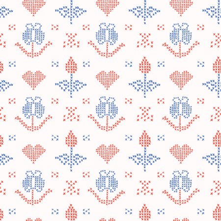 Hand Drawn Embroider Tulip Stitches Seamless Vector Pattern. Cross Stitch Illustration for Summer Fashion Prints, Christmas Gift Wrap, Trendy Craft Packaging or Retro Home Sweet Home Design Illustration