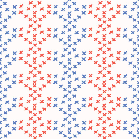 Folkloric Embroidery Sampler Stitches Seamless Vector Pattern. Hand Drawn Cross Stitch Illustration for Summer Fashion Prints, Patriotic Gift Wrap, Trendy Craft Packaging or Retro Red Blue Kitchenware