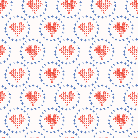 Hand Drawn Embroidery Love Heart Stitches Seamless Vector Pattern. Cross Stitch Illustration for Summer Fashion Prints, Wedding Gift Wrap, Patriotic Craft Packaging or Red Blue Home Sweet Home Design