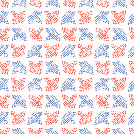 Folkloric Embroidery Leaf Stitches Seamless Vector Pattern. Hand Drawn Cross Stitch Illustration for Summer Fashion Prints, Patriotic Gift Wrap, Trendy Craft Packaging or Retro Red Blue Kitchenware Illustration