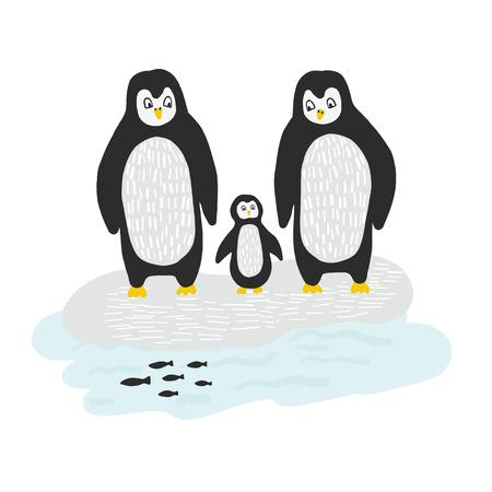 Arctic Penguin Family on Ice  Illustration, Hand Drawn Animals Stock Photo