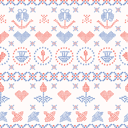 Embroidery Sampler Stitches Seamless Vector Pattern. Hand Drawn Cross Stitch Illustration for Summer Fashion Print, Trendy Packaging Wrap, Folkloric Craft Packaging or 1950s Style Kitchen Home Decor