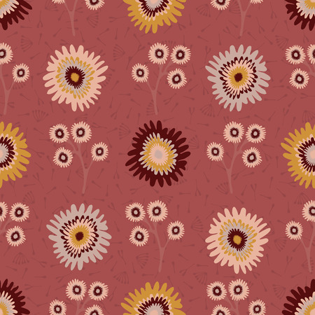 Fall Flowers Seamless Pattern, Hand Drawn Autumn Floral Blooms 向量圖像