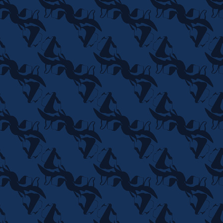 Indigo Blue Shibori Dye Seamless Vector Pattern. Hand Drawn Japanese Style Textile Illustration for Fashion Prints, Stationery, Craft Packaging, Minimal Wallpaper Backdrops. Japan Textile Home Decor. 写真素材 - 112514154