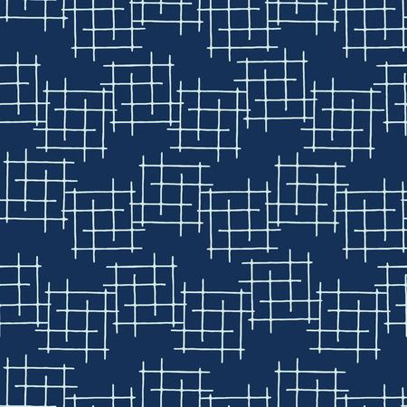 Indigo Blue Japanese Style Criss Cross Lines Seamless Vector Pattern