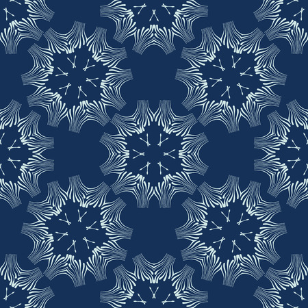 Indigo Blue Floral Seamless Vector Pattern. Hand Drawn Japanese Style Shibori Dye Textile Illustration for Fashion Prints, Stationery, Craft Packaging, Minimal Wallpaper Backdrops. Japan Textile Decor 写真素材 - 112514156