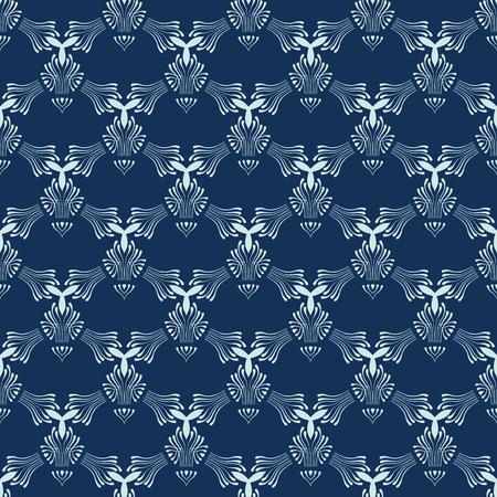 Indigo Blue Sashiko Seamless   Pattern. Hand Drawn Japanese Style