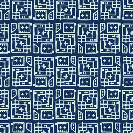 Indigo Blue Japanese Style Stitch Lines Seamless Vector Pattern. Hand Drawn Sashiko Grid Illustration for Fashion Prints, Handicrafts Packaging, Minimal Wallpaper Backdrops. Japan Textile Home Decor. 写真素材 - 112514158