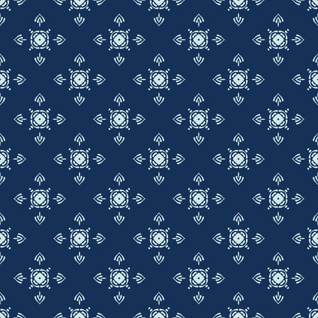 Traditional Indigo Blue Japanese Seamless Vector Pattern. Quilting Fabric Style Hand Drawn Motif Texture for Textile Prints, Classic Japan Decor, Asian Backdrops or Simple Understated Gift Wrapping 写真素材 - 112514159