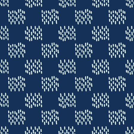 Square Motif Sashiko Style Japanese Needlework Seamless Vector Pattern. Hand Stitch Indigo Blue Line Texture for Textile Print, Classic Japan Decor, Asian Backdrop or Simple Kimono Quilting Template. 写真素材 - 112514160