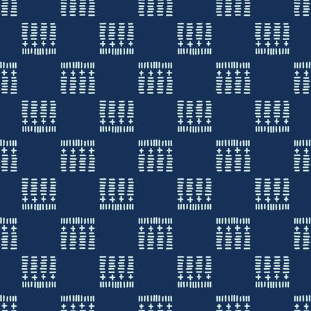 Square Motif Sashiko Style Japanese Needlework Seamless Vector Pattern. Hand Stitch Indigo Blue Line Texture for Textile Print, Classic Japan Decor, Asian Backdrop or Simple Kimono Quilting Template.