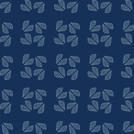 Traditional Indigo Blue Japanese Needlework Seamless Vector Pattern. Sashiko Style Hand Stitch Heart Texture for Textile Print, Classic Japan Decor, Asian Backdrop or Simple Kimono Quilting Template.