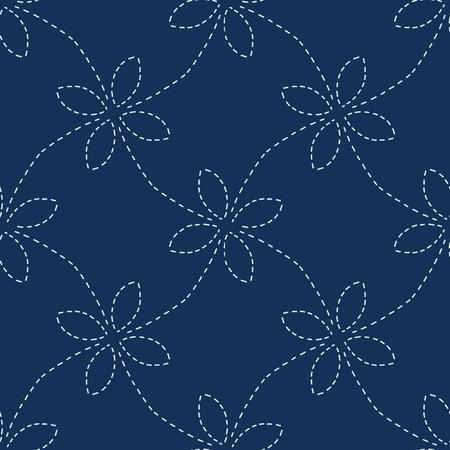Traditional Indigo Blue Japanese Needlework Seamless  Pattern
