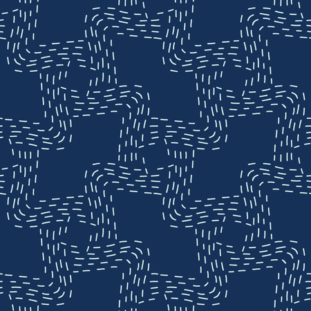 Traditional Sashiko StyleJapanese Needlework Seamless Vector Pattern. Hand Stitch Indigo Blue Line Texture for Textile Prints, Classic Japan Decor, Asian Backdrop or Simple Kimono Quilting Template. 写真素材 - 112514166