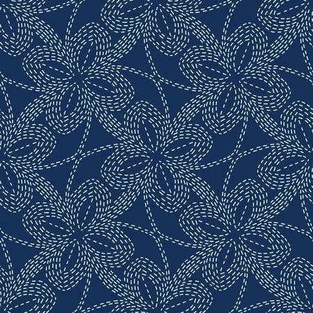 Floral Motif Sashiko Style Japanese Needlework Seamless Vector Pattern. Hand Stitch Indigo Blue Line Texture for Textile Print, Classic Japan Decor, Asian Backdrop or Simple Kimono Quilting Template.