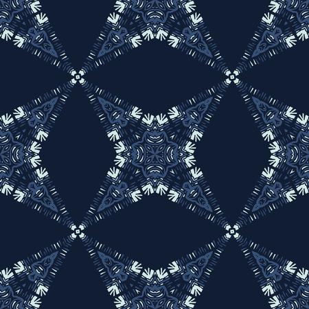 Patchwork Star Mosaic Tile Motif Seamless Vector Pattern. Hand Drawn Japanese Style Indigo Blue Quilt Texture for Elegant Textile Prints, Japan Decor, Craft Backdrop, Packaging, Kimono Fashion Fabric. Illustration