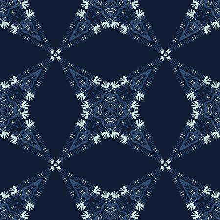 Patchwork Star Mosaic Tile Motif Seamless   Pattern. Hand Drawn Japanese