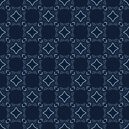 Traditional Indigo Blue Japanese Seamless  Pattern. Quilting Fabric Style Stock Photo