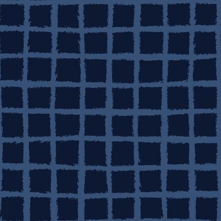 Hand Drawn Check Pattern Seamless Pattern. Indigo Blue Grunge