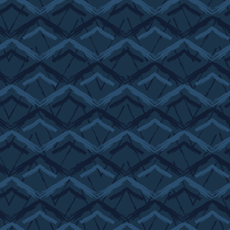 Grunge Chevron Mountains Seamless Vector Pattern. Hand Drawn Indigo Blue Geometric Texture for Textile Dye Prints, Classic Japan Decor, Asian Style Backdrop or Elegant Simple Packaging Gift Wrapping. Illustration