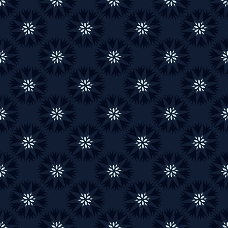 Indigo Blue Polka Dot Floral Seamless   Pattern Stock Photo