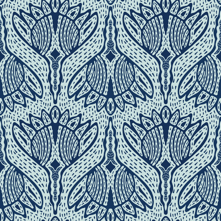 Floral Motif Sashiko Style Japanese Needlework Seamless Vector Pattern. Hand Stitch Indigo Blue Batik Texture for Textile Print, Japan Decor, Embroidery Backdrop, Ethnic Indonesia Fashion Print Fabric.