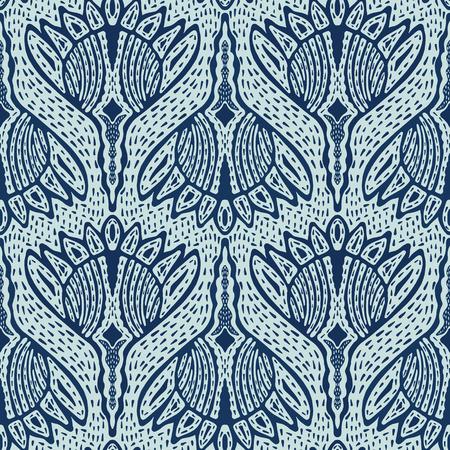 Floral Motif Sashiko Style Japanese Needlework Seamless Vector Pattern. Hand Stitch Indigo Blue Batik Texture for Textile Print, Japan Decor, Embroidery Backdrop, Ethnic Indonesia Fashion Print Fabric.