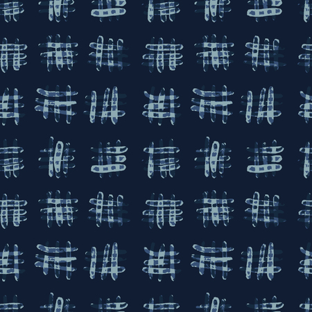 Indigo Blue Batik Dye Seamless Vector Pattern. Hand Drawn Grunge Criss Cross Textile Illustration for Boho Fashion Print, Stationery, Hippie Packaging, Trendy Organic Cloth Backdrop. Japan Home Decor. 일러스트
