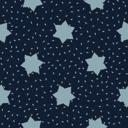 Frilly Stars Texture Seamless  Pattern. Drawn Starry Ornament Stock Photo