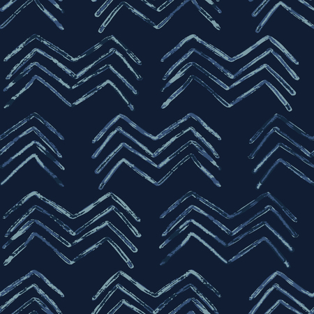 Indigo Tie Dye Batik Chevron Seamless Pattern. Dessiné Organique Vecteurs