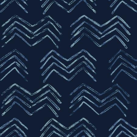 Indigo Tie Dye Batik Chevron Seamless   Pattern. Drawn Organic