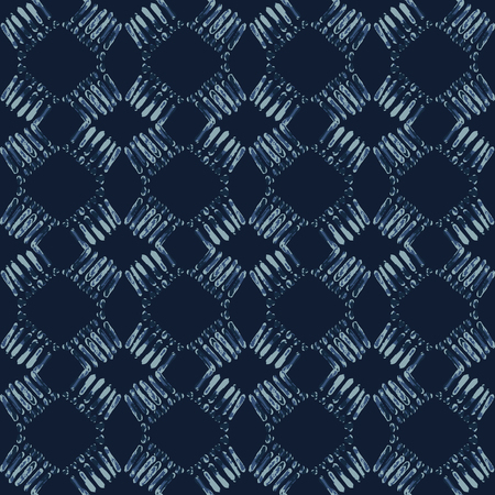 Indigo Tie Dye Batik Seamless Vector Pattern. Hand Drawn Organic Blue Textile Illustration for Boho Fashion Prints, Stationery, Hippie Packaging, Trendy Organic Cloth Backdrop. Indonesian Home Decor. 일러스트