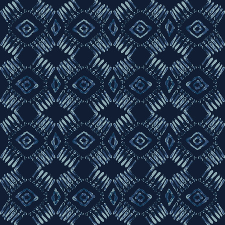 Indigo Tie Dye Batik Seamless Vector Pattern. Hand Drawn Damask Blue Textile Illustration for Boho Fashion Prints, Stationery, Hippie Packaging, Trendy Organic Cloth Backdrop. Indonesian Home Decor.