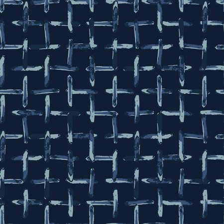 Indigo Natural Dye Seamless Pattern. Hand Drawn Grunge Criss Cross 스톡 콘텐츠