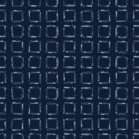 Hand Drawn Squared Check Pattern Seamless Vector Pattern. Indigo Blue Grunge Grid Background Texture Illustration for Trendy Home Decor, Masculine Fashion Prints, Japan Style Dye Wallpaper, Textiles.