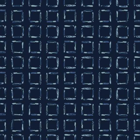Hand Drawn Squared Check Pattern Seamless Pattern. Indigo