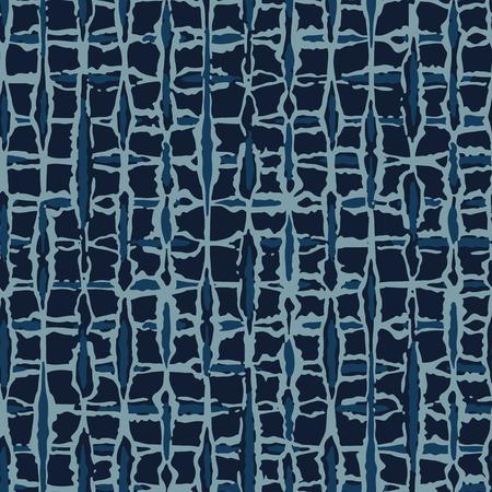 Hand Drawn Check Pattern Seamless Pattern. Indigo Blue Grunge Grid