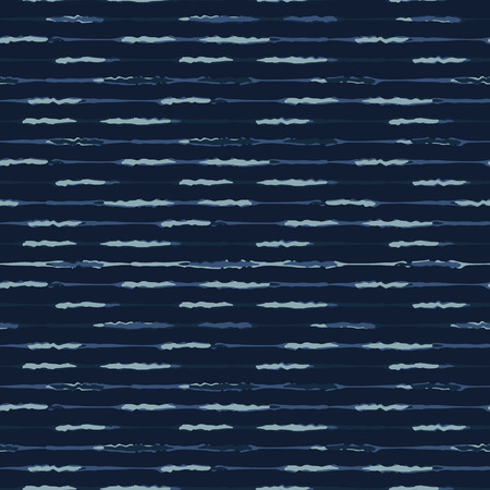 Thin Hand Drawn Stripe Pattern Seamless Vector Pattern. Indigo Blue Grunge Stripe Background Texture Illustration for Trendy Home Decor, Masculine Fashion Prints, Japan Style Dye Wallpaper, Textiles.