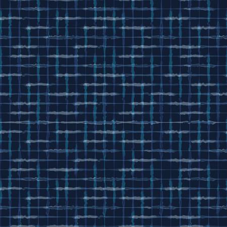 Hand Drawn Check Pattern Seamless Vector Pattern. Indigo Blue Grunge Grid Background Texture Illustration for Trendy Home Decor, Masculine Fashion Print, Japanese Style Dye Wallpaper, Batik Textiles.