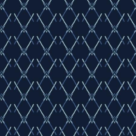 Indigo Blue Pattern Cross Net Seamless  Pattern. Hand Drawn