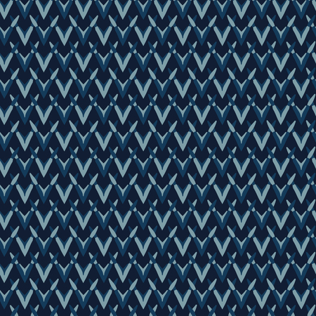 Indigo Pattern Knit Texture Seamless Vector Backdrop. Hand Drawn Textile Illustration for Geometric Fashion Prints, Stationery, Hippie Packaging, Trendy Organic Cloth Backdrop. Masculine Home Decor.