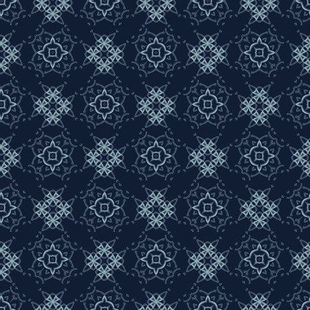 Indigo Pattern Patchwork Style Seamless Vector Pattern. Geometric Grid Ornament Style . Hand Drawn Motif Texture for Textile Prints, Japan Decor, Asian Packaging or Elegant Kimono Fabric, Gift Wrap.