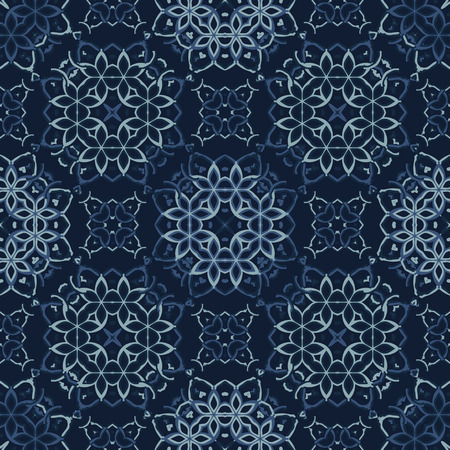 Traditional Indigo Blue Japanese Seamless Pattern. Lace Quilt