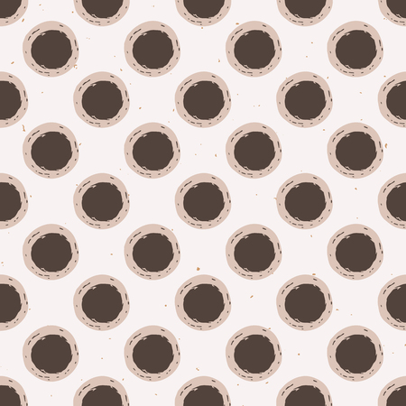 Winter Rustic Polka Dots Lino Cut Texture Seamless Vector Pattern, Sketchy Circles Block Print Style for Trendy Home Decor, Christmas Wallpaper, Nordic Textile, Style Backdrop, Ecru Beige Brown