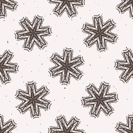 Winter Rustic Snowflake Lino Cut Texture Seamless Vector Pattern, Sketchy Folk Star Block Print Style for Xmas Home Decor, Christmas Wallpaper, Nordic Textile, Yule Card, Festive Holiday Brown Ecru Vectores