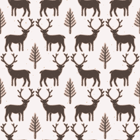 Winter Rustic Tree and Reindeer Lino Cut Texture Seamless Vector Pattern, Pine, Deer Silhouette Forest Block Print Style for Xmas Home Decor, Christmas Wallpaper, Nordic Festive Holiday. Brown Ecru Vectores